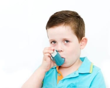 Boy suffering from asthma