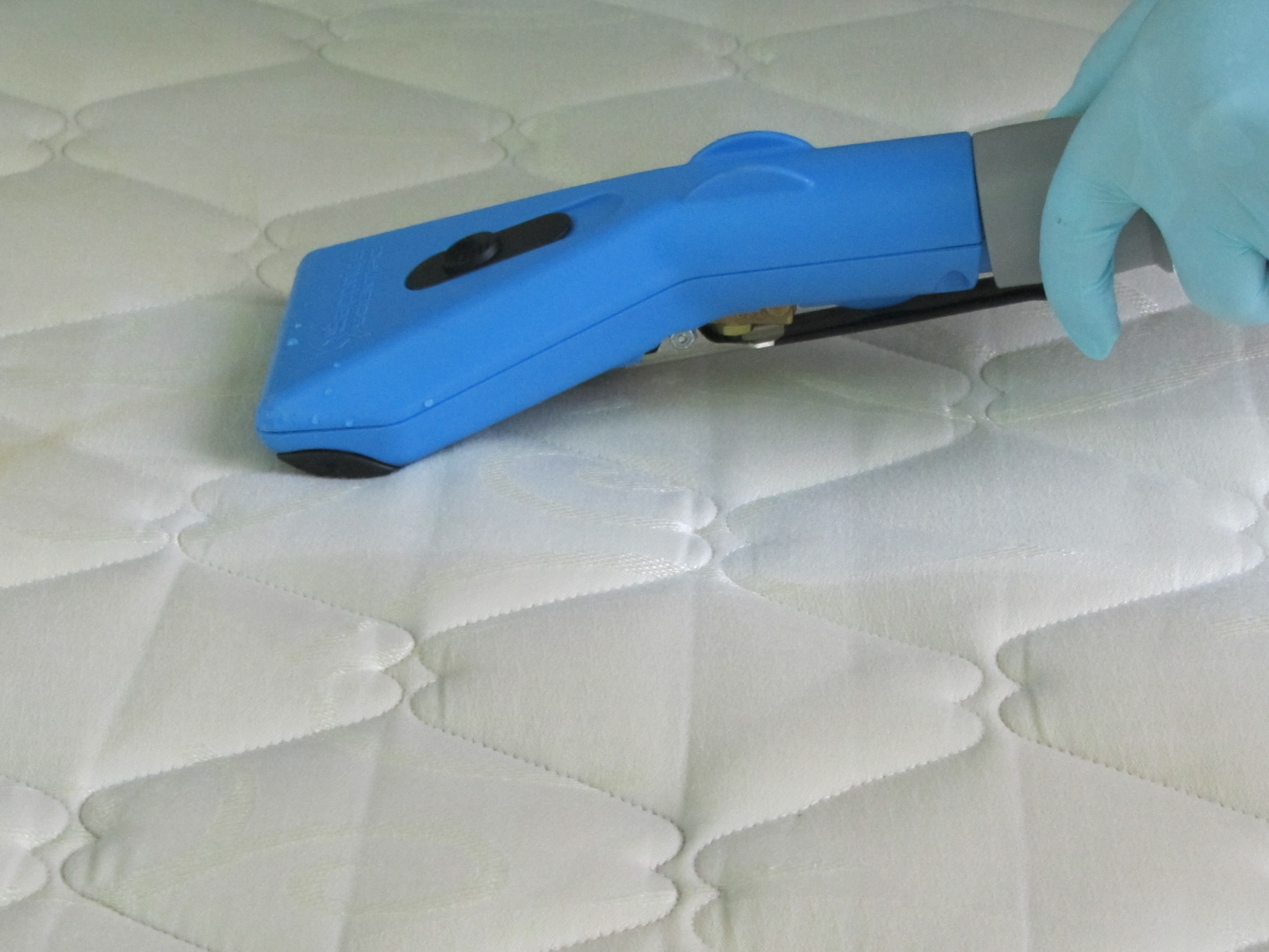 Mattress Cleaning - Sanitising a mattress with a low moisture upholstery tool