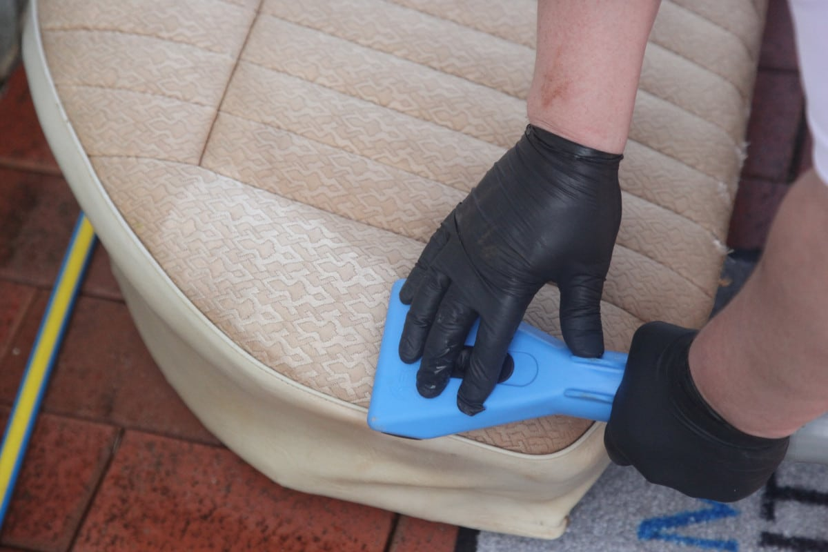 Vehicle Interior Cleaning - Steam cleaning wand strokes on the seats for a car restoration